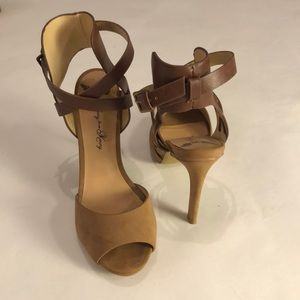 Shoes - Multi texture strappy peep toe heels